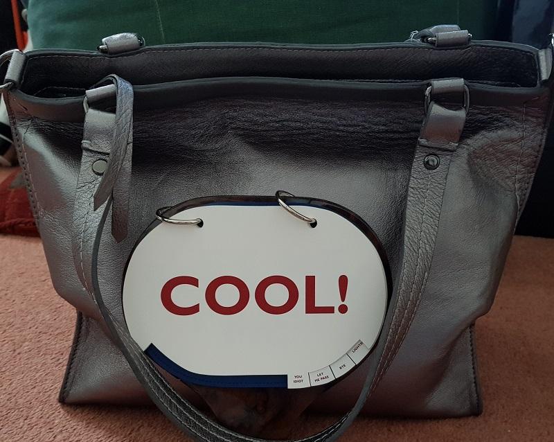 "Positive Messaging Arayla Handbag with a ""Cool"" Sign"