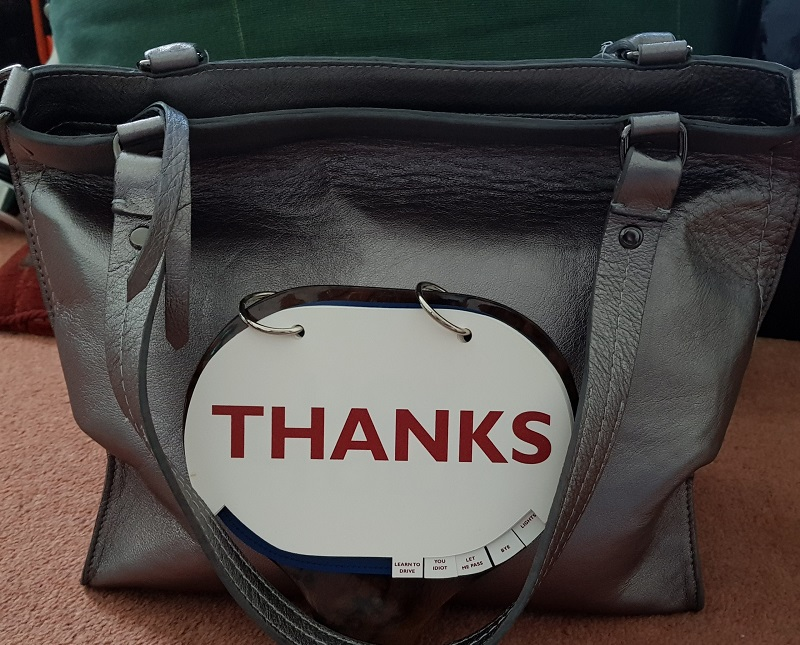 "Positive Messaging Arayla Handbag with a ""Thanks"" Sign"
