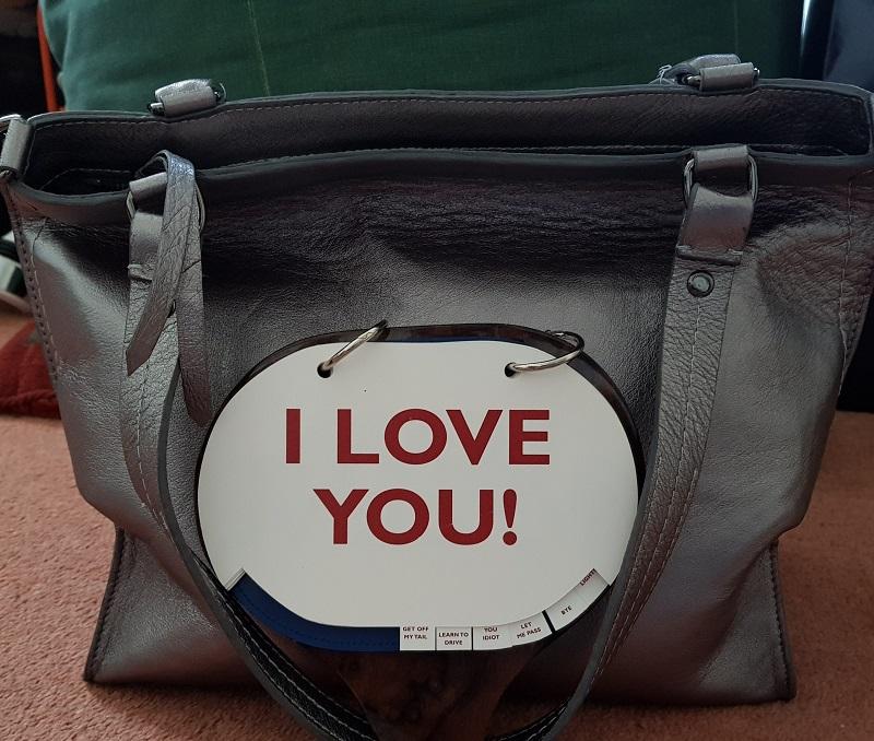 "Positive Messaging Arayla Handbag with a ""I Love You"" Sign"